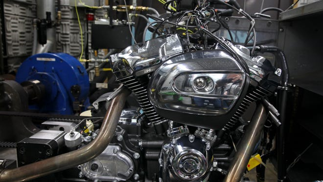 Harley-Davidson's new Milwaukee-Eight engine is tested in August 2016 at the company's production facility in Menomonee Falls for airflow and how well it performs and cools.