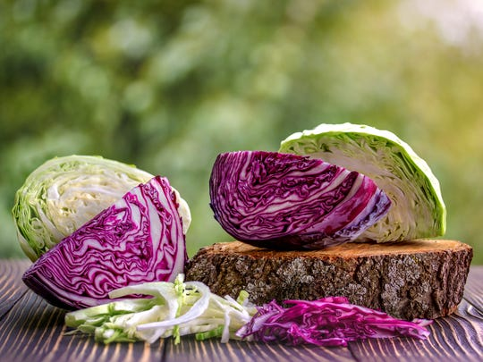 Chopped green and red cabbage often are used in coleslaw.