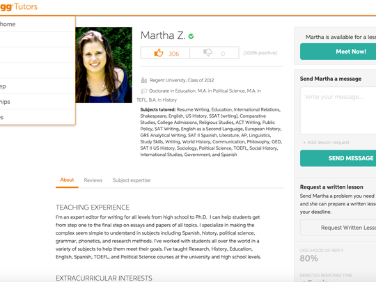 Chegg has a deep tutoring base mainly for high school and college aged students