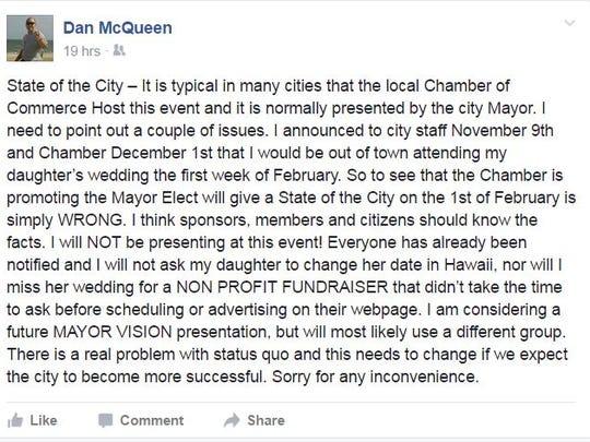 Mayor Dan McQueen's Facebook post
