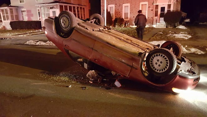 Elmira police and firefighters responded early Monday to a rollover accident on Mount Zoar Street.