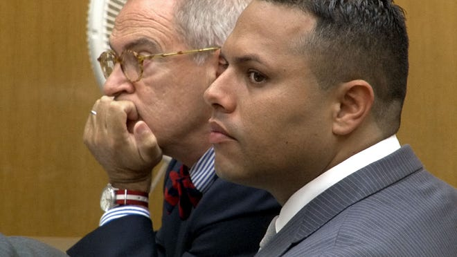 Erick Uzcategui is shown during the opening arguments in his July vehicular homicide trial in Toms River.