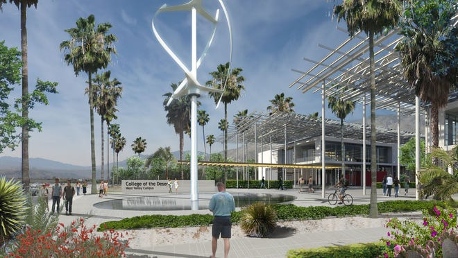Architectural drawing of the main entrance planned for College of the Desert west valley campus in Palm Springs.
