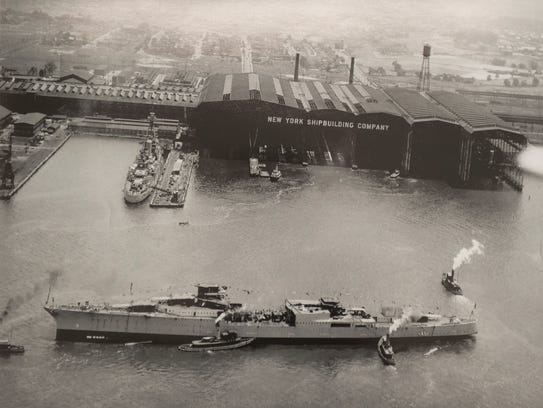 Launching of the USS Indianapolis at the New York Ship
