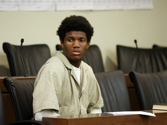 Jah-Del Birch, the 16-year-old charged as an adult in the murder of 10-year-old Yovanni Banos-Merino, makes his first appearance before Superior Court Judge David F. Bauman at Monmouth County Courthouse in Freehold, NJ Wednesday June 21, 2018.