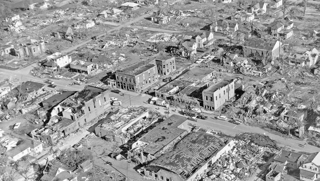 Aerial view of the devastation in Russiaville following the 1965 Palm Sunday tornadoes.