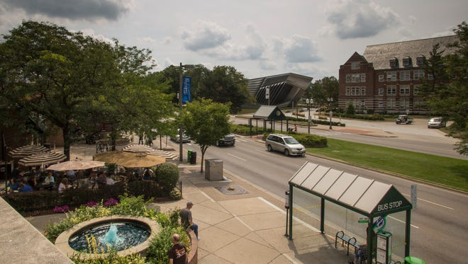Grand River Avenue in downtown East Lansing Thursday afternoon, around lunch time, Aug. 3, 2017.  [MATTHEW DAE SMITH/Lansing State Journal]