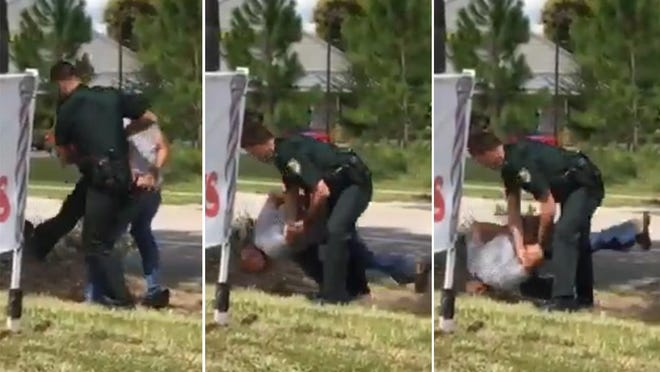 "In screen shots from a witness' video, Volusia County Sheriff's deputy Andrew Jenkins is shown using the ""leg sweep"" to take down a man whose hands were cuffed behind his back. Jenkins was determined to have violated eight agency policies during the incident."