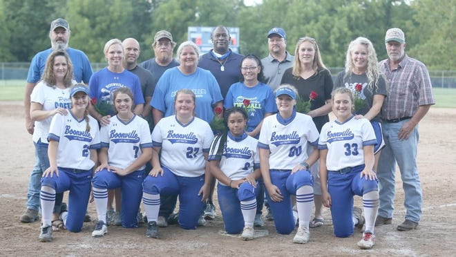 Six members of the Boonville Lady Pirates softball team were recognized along with their parents during Senior Night against Southern Boone on September 2. The Lady Pirates wound up beating the Eagles in nine innings 7-6.