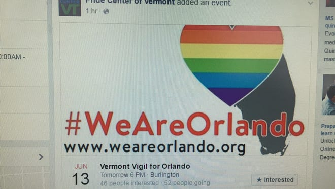 The Pride Center of Vermont is organizing an vigil on Monday to remember the victims of a mass shooting in an Orlando, Florida, night club.