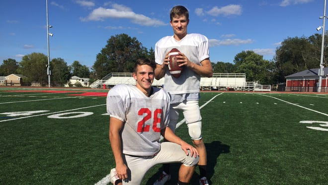 Rancocas Valley juniors Bryce Mangene (top) and Dan Kondras are best friends and their relationship has benefited them on the football field.