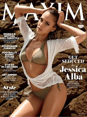 "Jessica Alba on the cover of ""Maxim"" magazine."