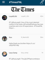 The live feed of tweets, stories, pictures and videos on The Times' Friday Night Live football app.