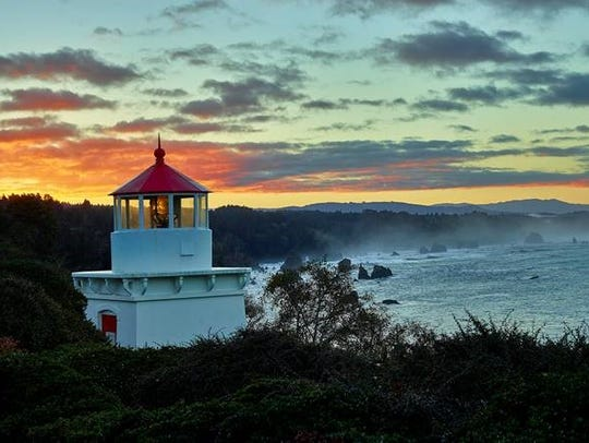 The Trinidad lighthouse at sunrise.