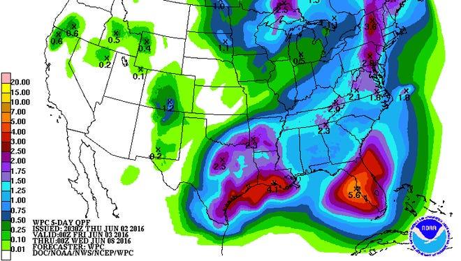 Five-day precipitation map.