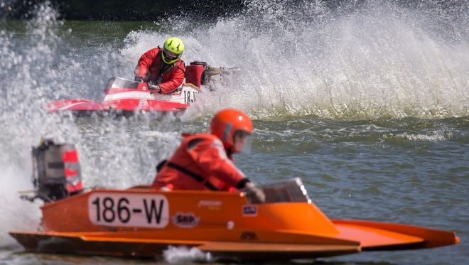 Over ninety boats participate in Sunday's Shake The Lake races at Menominee Park.