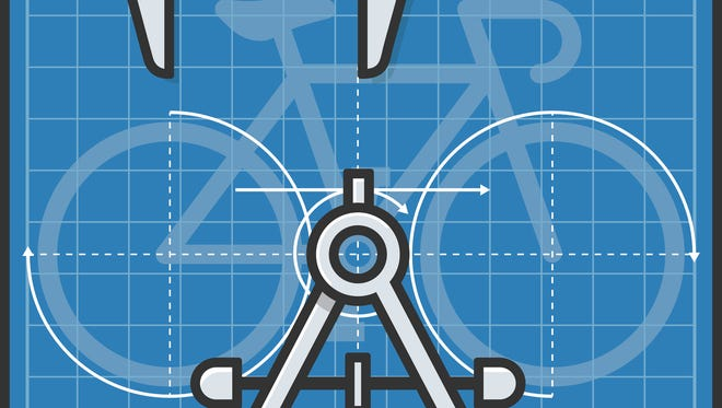 Spot illustration of a blueprint of a racing bike with a drafting compass and calipers.