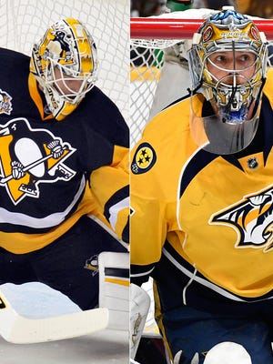 Penguins goalie Matt Murray (left) is looking to win his second consecutive Stanley Cup, while Pekka Rinne (right) and the Predators are aiming to win their first.
