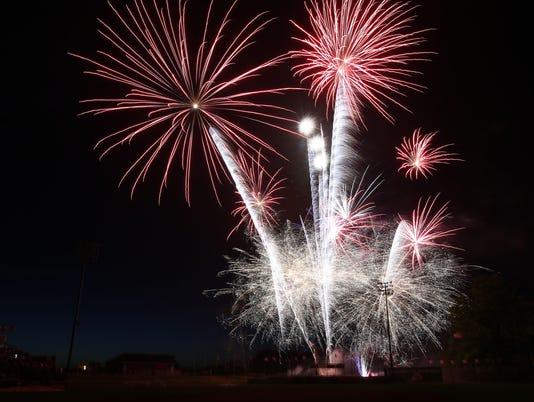 Salem Volcanoes game fireworks