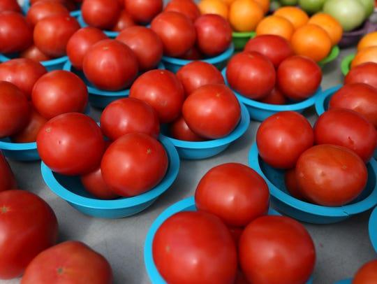 Fresh tomatoes at the Market Square Farmer's Market.