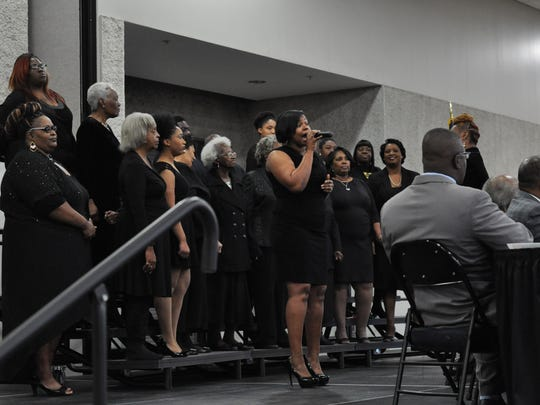 The Citywide Interdenominational Revival Crusade Choir sang Monday at the MLK Noon Day Celebration.
