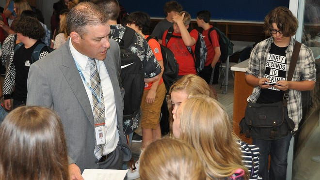 In this 2018 file photo, Central Valley Central School District Superintendent Jeremy Rich speaks to students in the new cafeteria at Central Valley Academy.