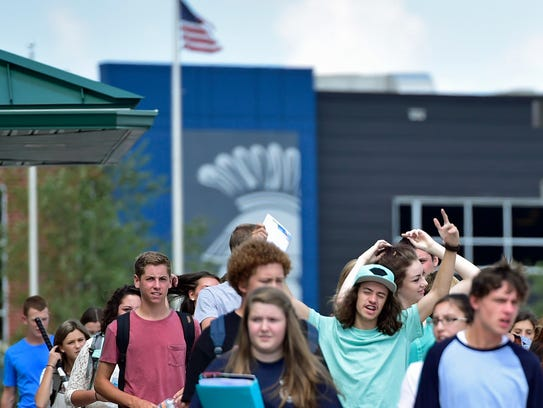 CASHS students leave campus after school on Thursday,