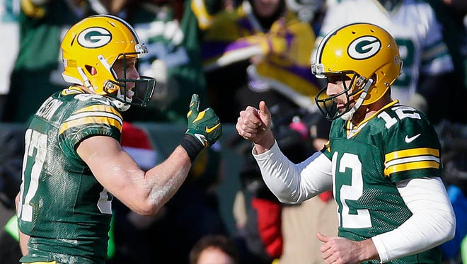 Green Bay Packers quarterback Aaron Rodgers (12) and Green Bay Packers wide receiver Jordy Nelson (87) celebrate Nelson's touchdown against the Minnesota Vikings on Saturday, Dec. 24, 2016 at Lambeau Field .