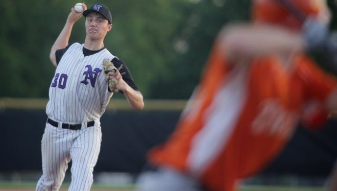 Norwalk senior Chris Comito pitches against Grinnell in a June 3 game in Norwalk.