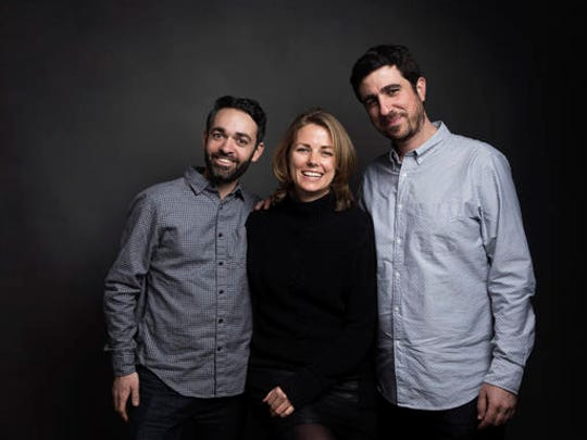 "Director Adam Sobel, from left, producer Rosie Garthwaite and producer Ramzy Haddad pose for a portrait to promote the film, ""The Workers Cup"", at the Music Lodge during the Sundance Film Festival on Friday, Jan. 20, 2017, in Park City, Utah."
