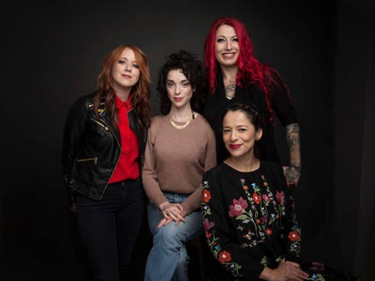 """Directors Roxanne Benjamin, from left, Annie Clark, Jovanka Vuckovic and Sofia Carillo pose for a portrait to promote the film, """"XX"""", at the Music Lodge during the Sundance Film Festival on Sunday, Jan. 22, 2017, in Park City, Utah."""