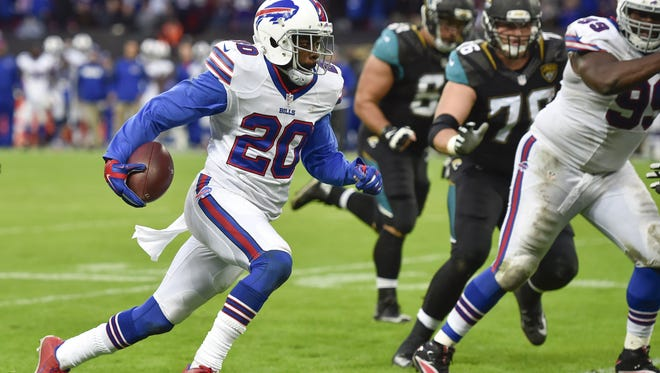 Free safety Corey Graham returns an interception for a touchdown to give the Bills the lead in the fourth quarter on Oct. 25, 2015,  at Wembley Stadium.