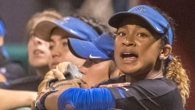 MTSU softball's Precious Birdsong cheers on her team during an NCAA regional game against Alabama at Rhoads Stadium in Tuscaloosa, Ala. on May 18, 2018.