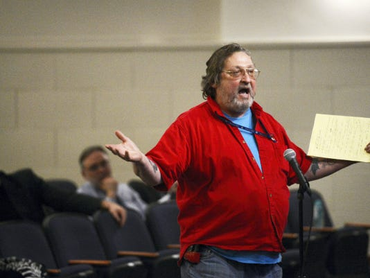 Michael O'Rourke of York speaks last year during the public comment portion of a York City advisory meeting at Phineas Davis Elementary School. O'Rourke resigned Monday as the city's business administrator.