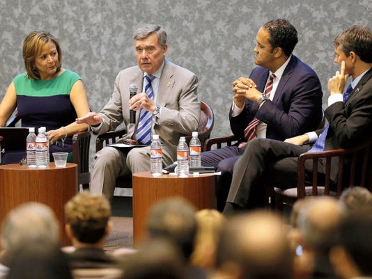R. Gil Kerlikowske, U.S. Customs and Border Protection commissioner, answers a question as New Mexico Gov. Susana Martinez, left, U.S. Rep. Will Hurd, R-Texas, and U.S. Rep. Beto O'Rourke, D-El Paso, look on during the United States-Mexico Summit on Thursday at the University of Texas at El Paso.