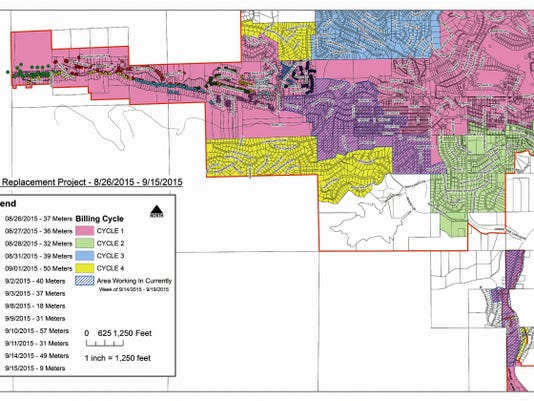 The map shows a portion of the village and of each of the four cycles of automated water meter installation, as well as the areas where crews currently are working.