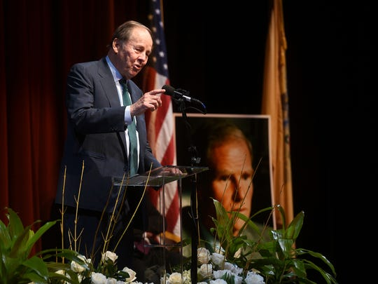 Former Governor Tom Kean speaks at a memorial service for late NJ Governor Brendan Byrne at Paper Mill Playhouse on Monday, January 8, 2018.