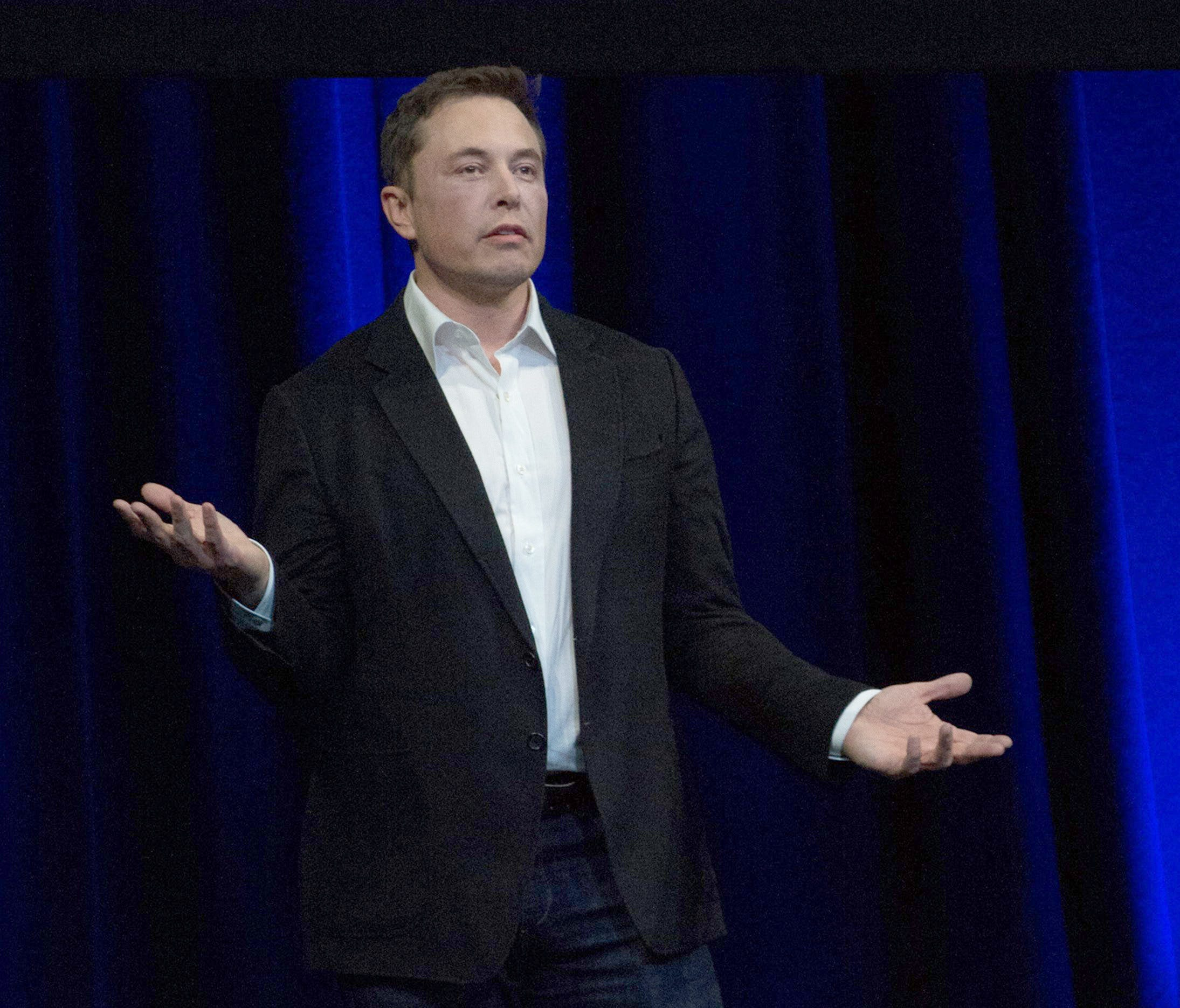 Elon Musk, Chief Executive Officer of Space Exploration Technologies Corporation, speaks on the final day of the 68th International Astronautical Congress in Adelaide, Australia, on Sept. 29, 2017.