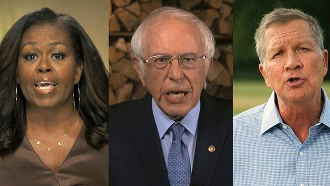 In this combination image from video, former first lady Michelle Obama, Sen. Bernie Sanders, I-Vt., and former Republican Ohio Gov. John Kasich speak during the first night of the Democratic National Convention on Monday, Aug. 17, 2020.