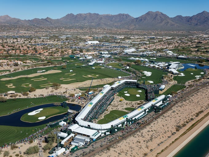 An aerial view of the 16th hole at TPC Scottsdale,