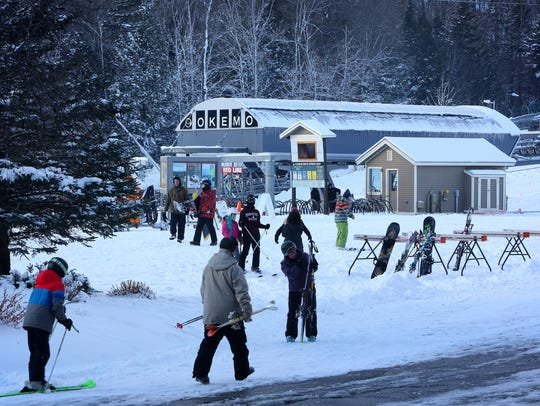 The Jackson Gore base area after a fresh snowfall at