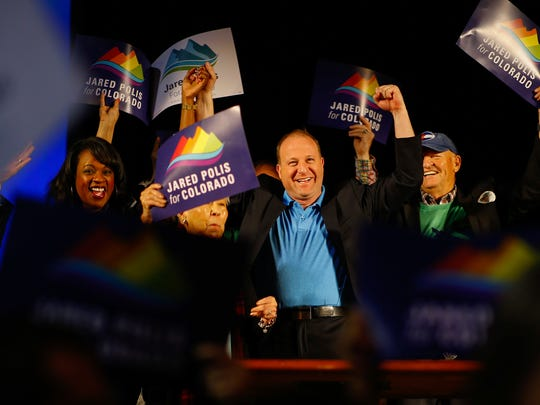 U.S. Representative Jared Polis, a Democratic candidate for Governor, speaks during the Democratic State Assembly at 1STBANK Center on Saturday, April 14, 2018 in Broomfield, Colo.   Colorado's Republican and Democratic parties are holding state assemblies to help determine who gets to their respective gubernatorial primaries. Republican delegates in Boulder are deciding Saturday whether to send state Treasurer Walker Stapleton, Attorney General Cynthia Coffman and lesser-known candidates to the June 26 primary. (Justin Edmonds/The Denver Post via AP)