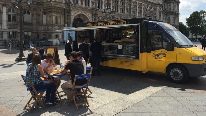 Food trucks are increasingly popular on the streets of Paris.