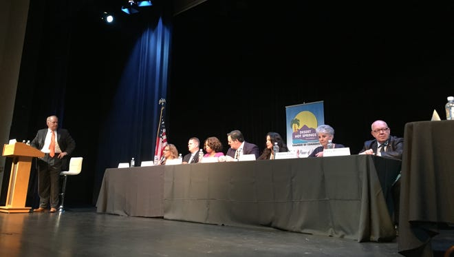 Candidates vying for office in Desert Hot Springs are introduced at a public forum Thursday, Sept. 10, 2015, at the Desert Hot Springs High School.