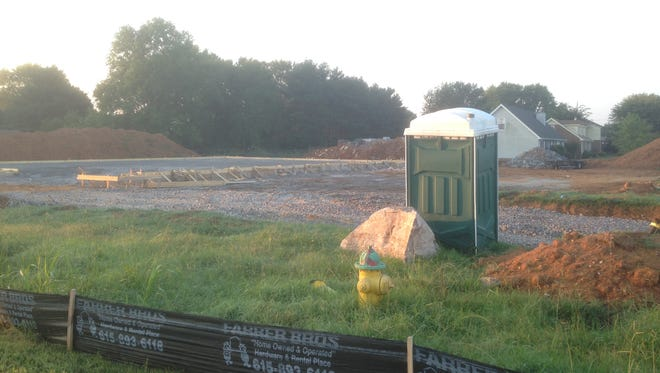 This construction site shows where crews are building an Arby's by a Taco Bell on the south side of Almaville Road near an Interstate 24 interchange.