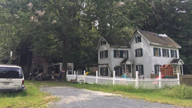 The home on Gladding Road in Mears, Virginia where Malista Ness-Hopkins is accused of keeping two of her five children in makeshift cages.