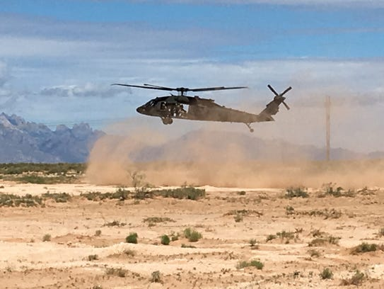 A Black Hawk helicopter lands during the Network Integration