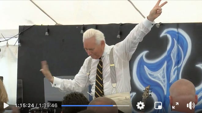 Roger Stone preached at Global Vision Bible Church in Mount Juliet, Tennessee, on Sunday.