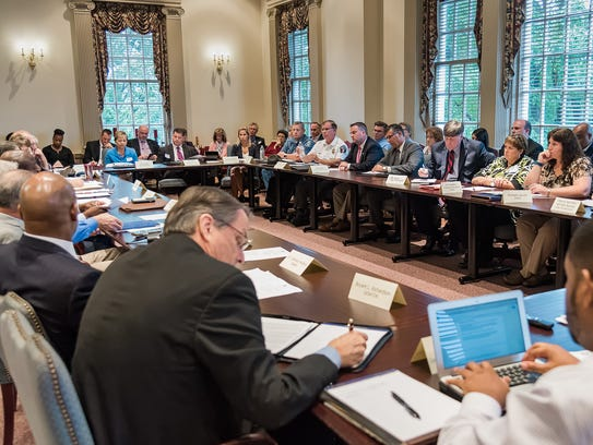 Discussions are held at Legislative Hall in Dover during