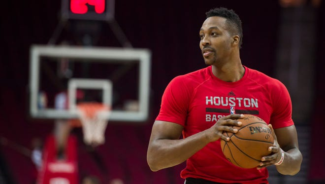 Dwight Howard warms up before a game against the Los Angeles Lakers at the Toyota Center.